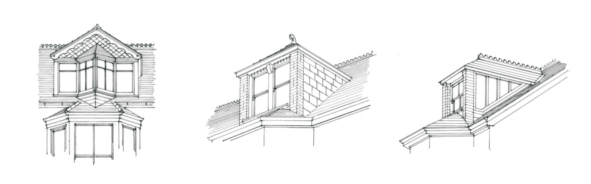 Sketch of roof and window