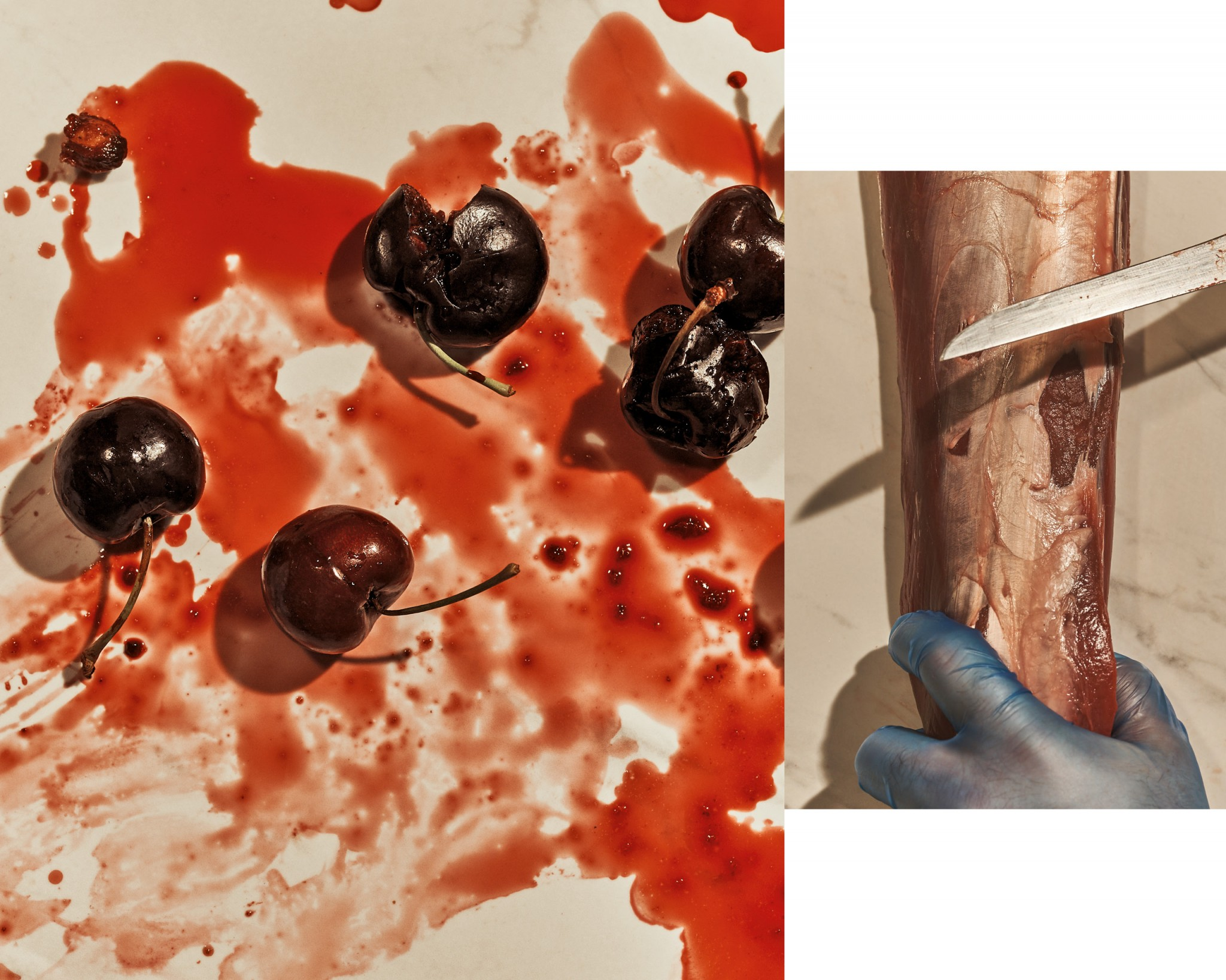 Two closeup images of cherries and someone cutting a piece of venison