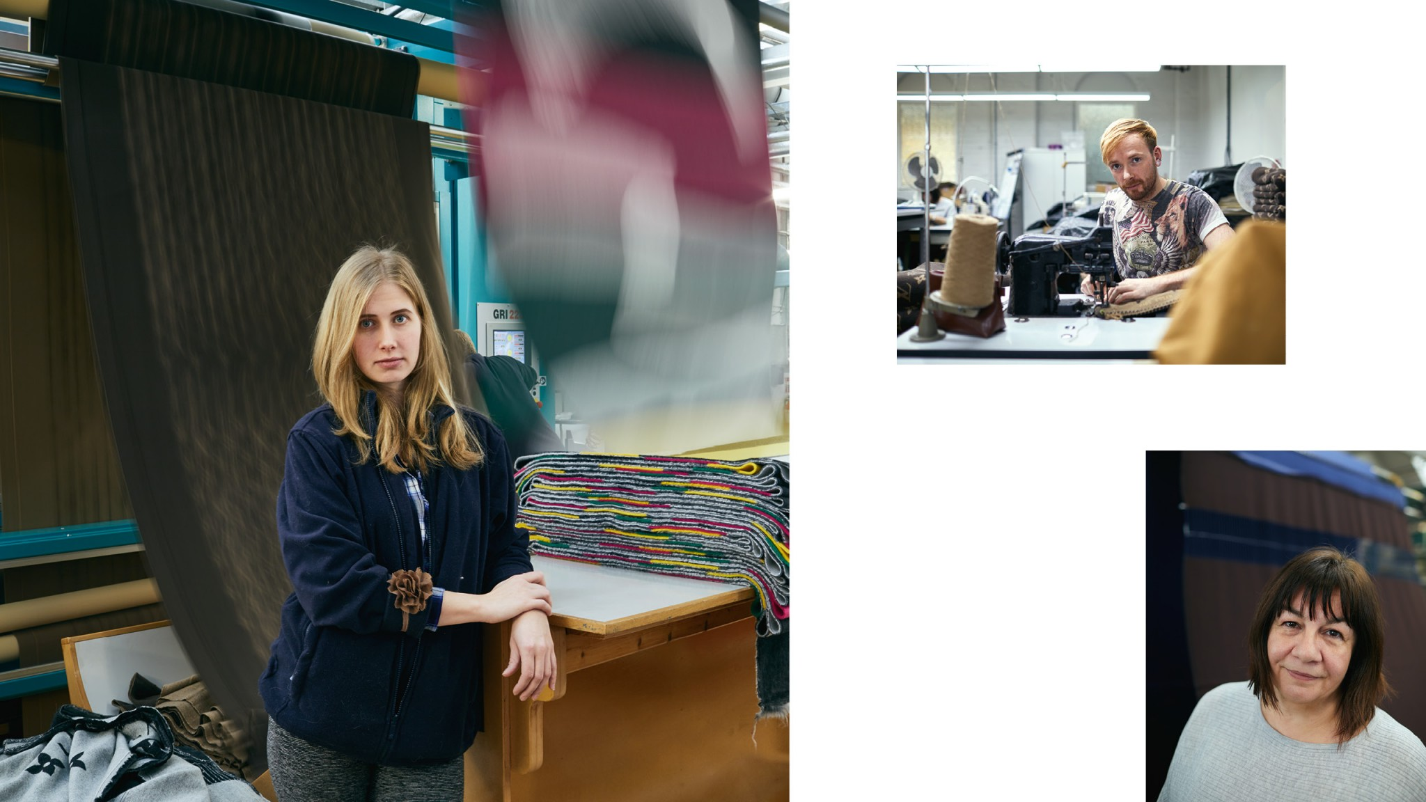 Image of a collage of three images, woman standing next to fabrics, man on a sewing machine and closeup of a woman