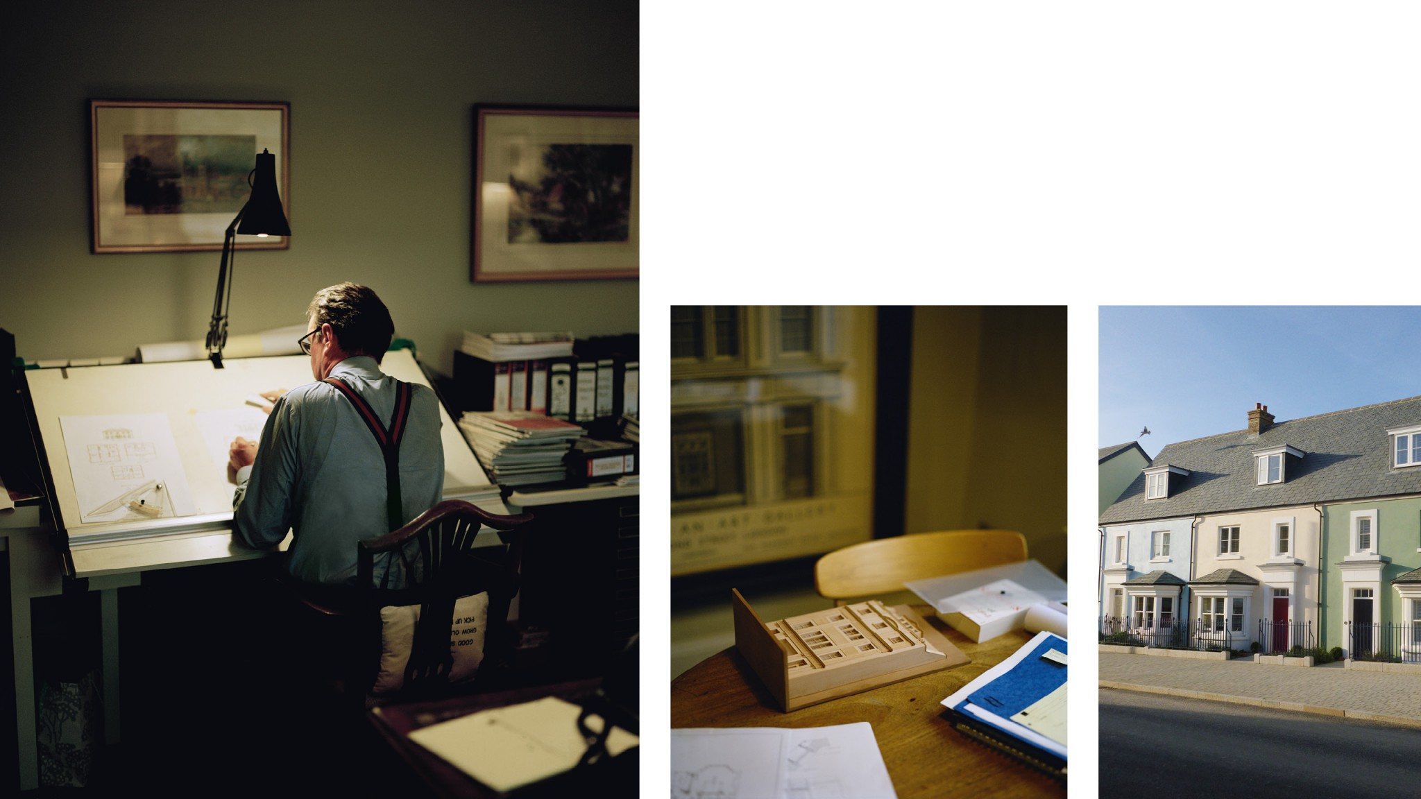 Three images: One of the architect, close up in his home and exterior of houses