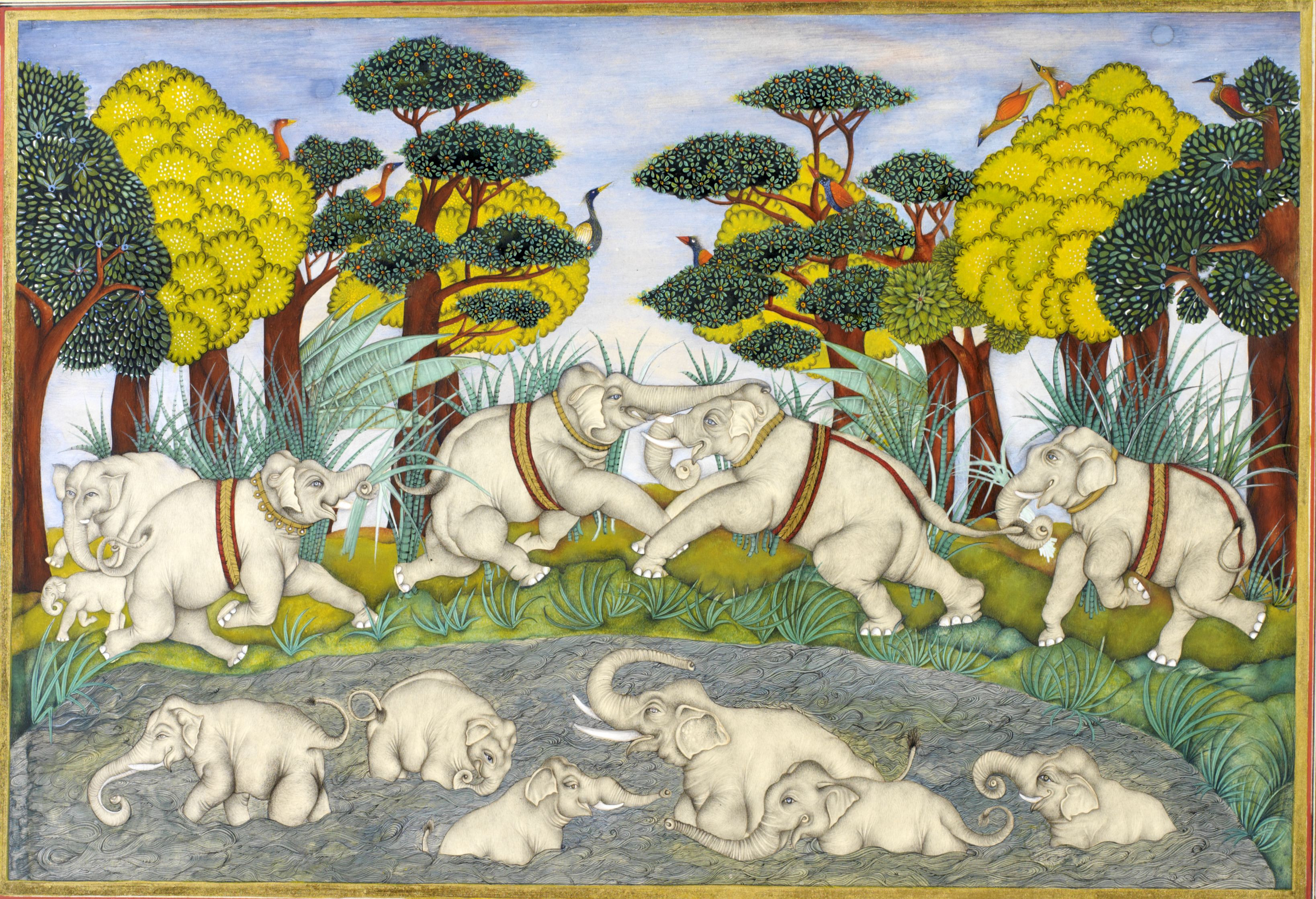 Image of a painting of elephants