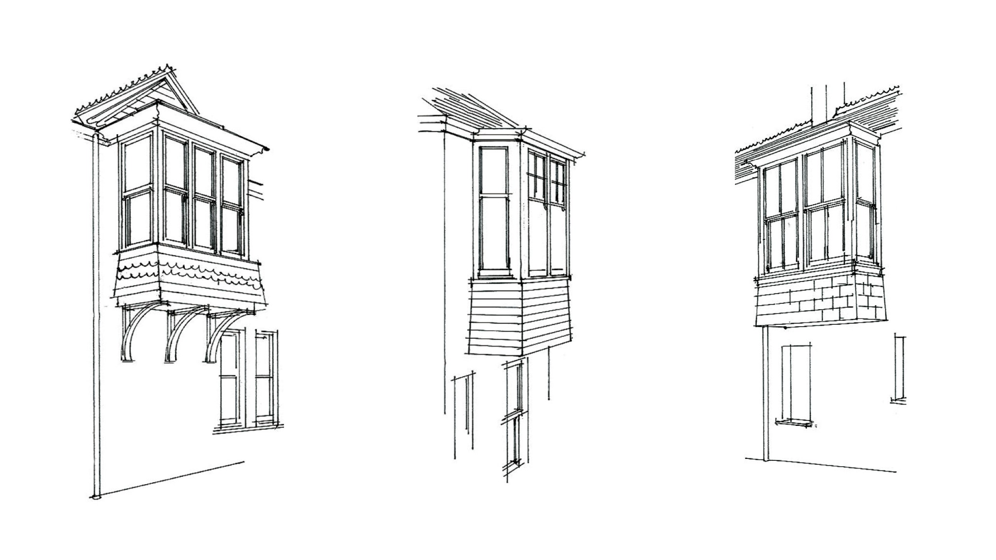 Sketch of the exterior of a building, focusing on the windows