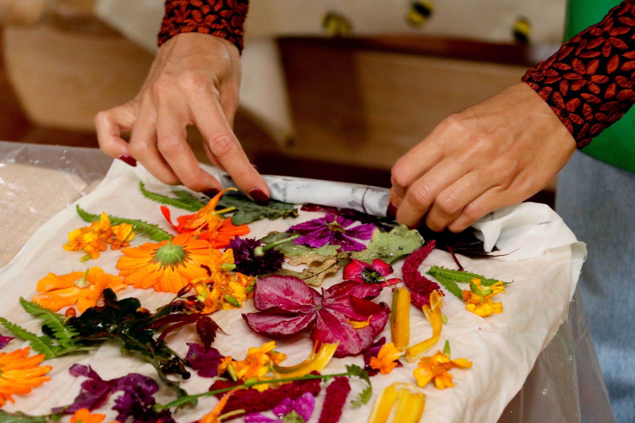 Natural dye workshop using flowers from the Dumfries House gardens