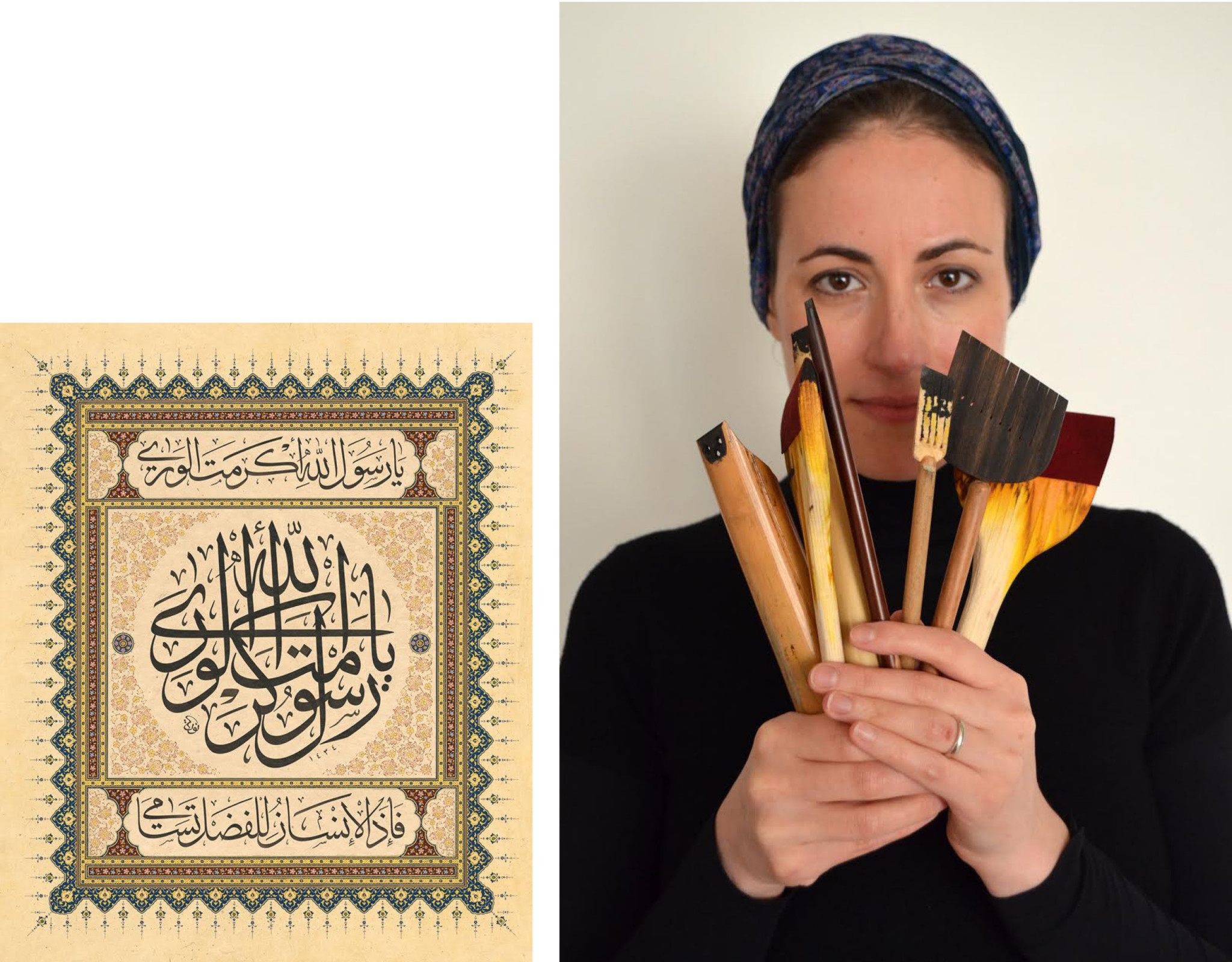 Two images: Work by the artist and the artist holding pencils