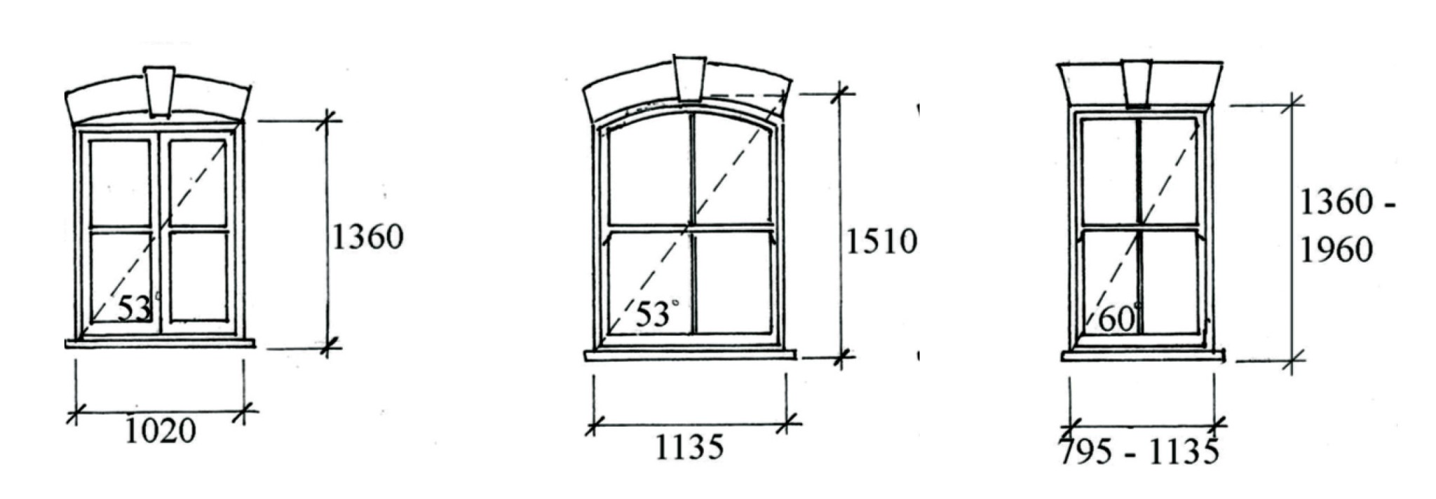 Sketch of three windows with measurements