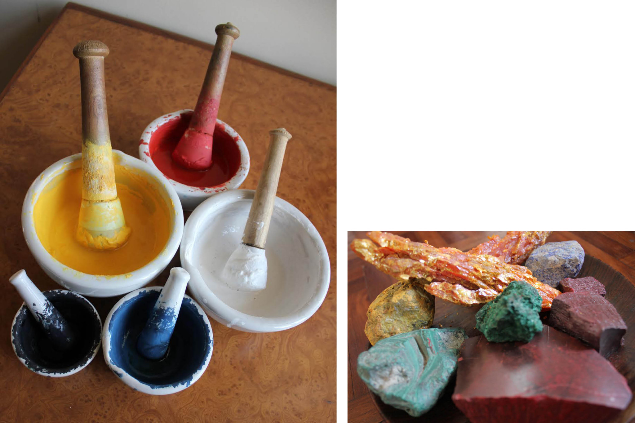 Two images. One of five hand ground pigments in different colours and one of mineral pigments