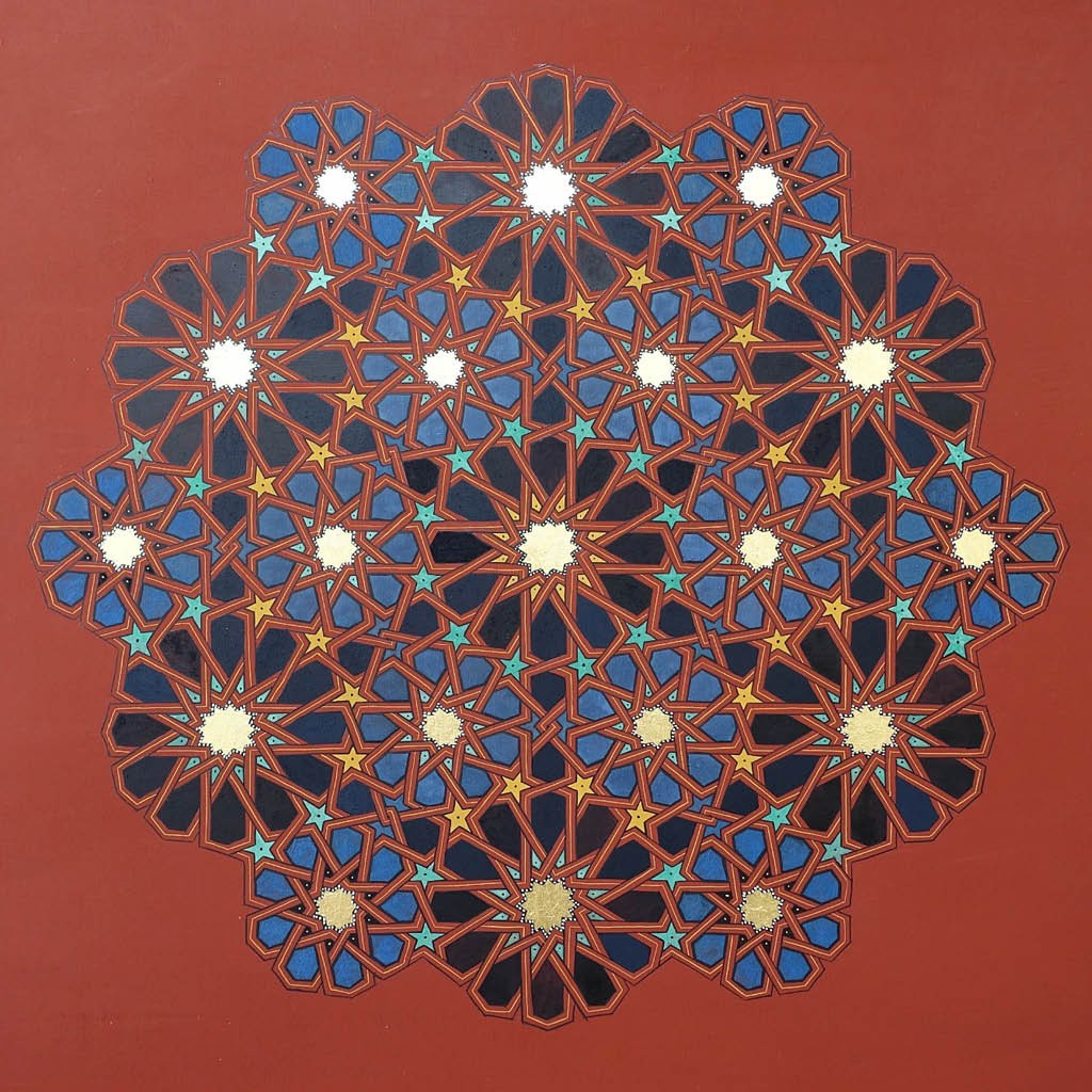 Image of a zouaq painting in the shape of a flower made up of 21 detailed flowers