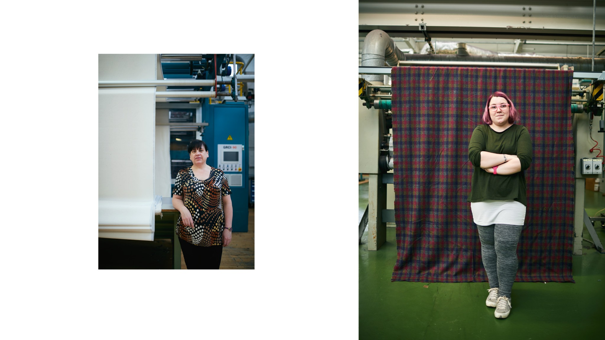 Two images, two different women standing next to fabric