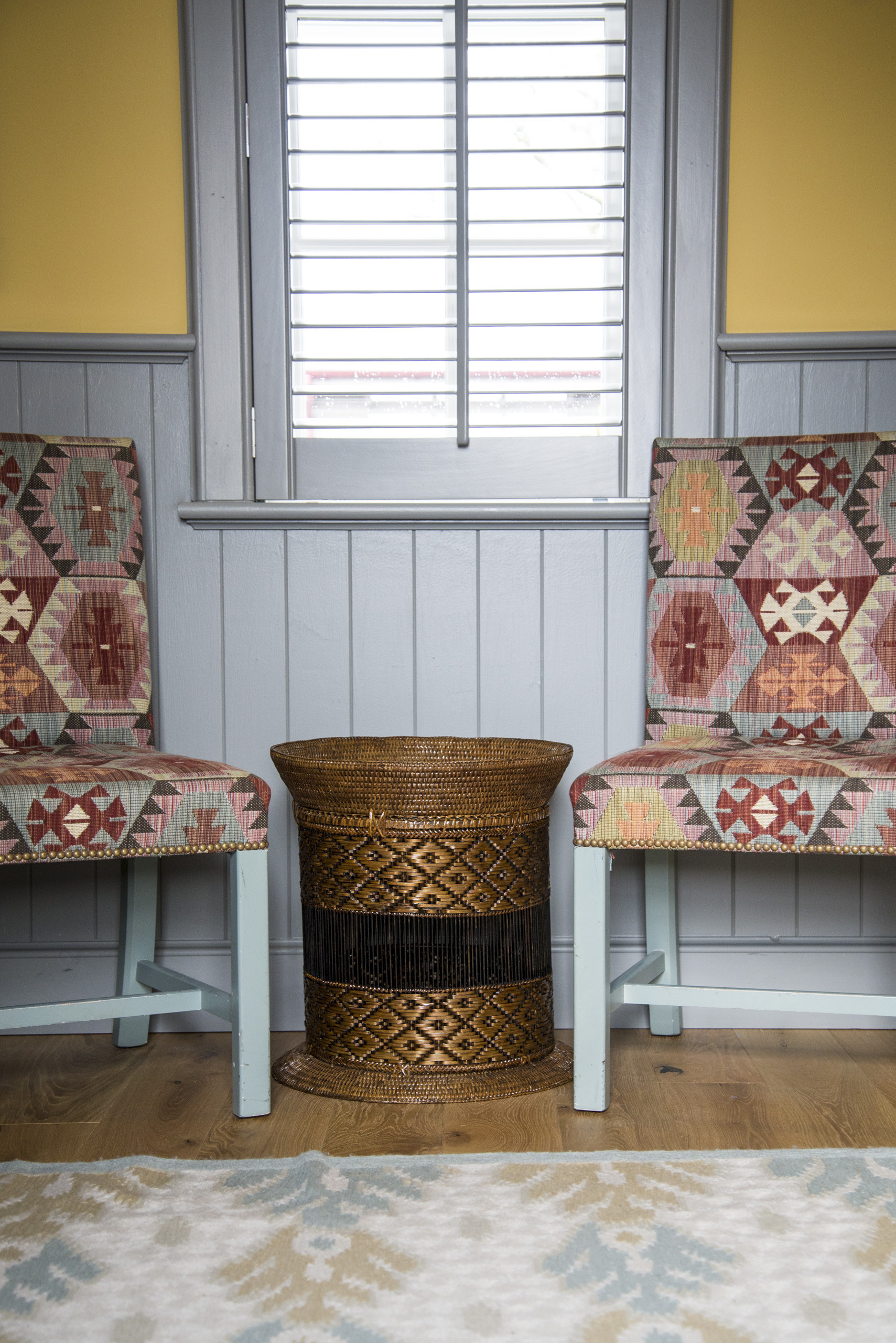 Image of two chairs in pattern fabric