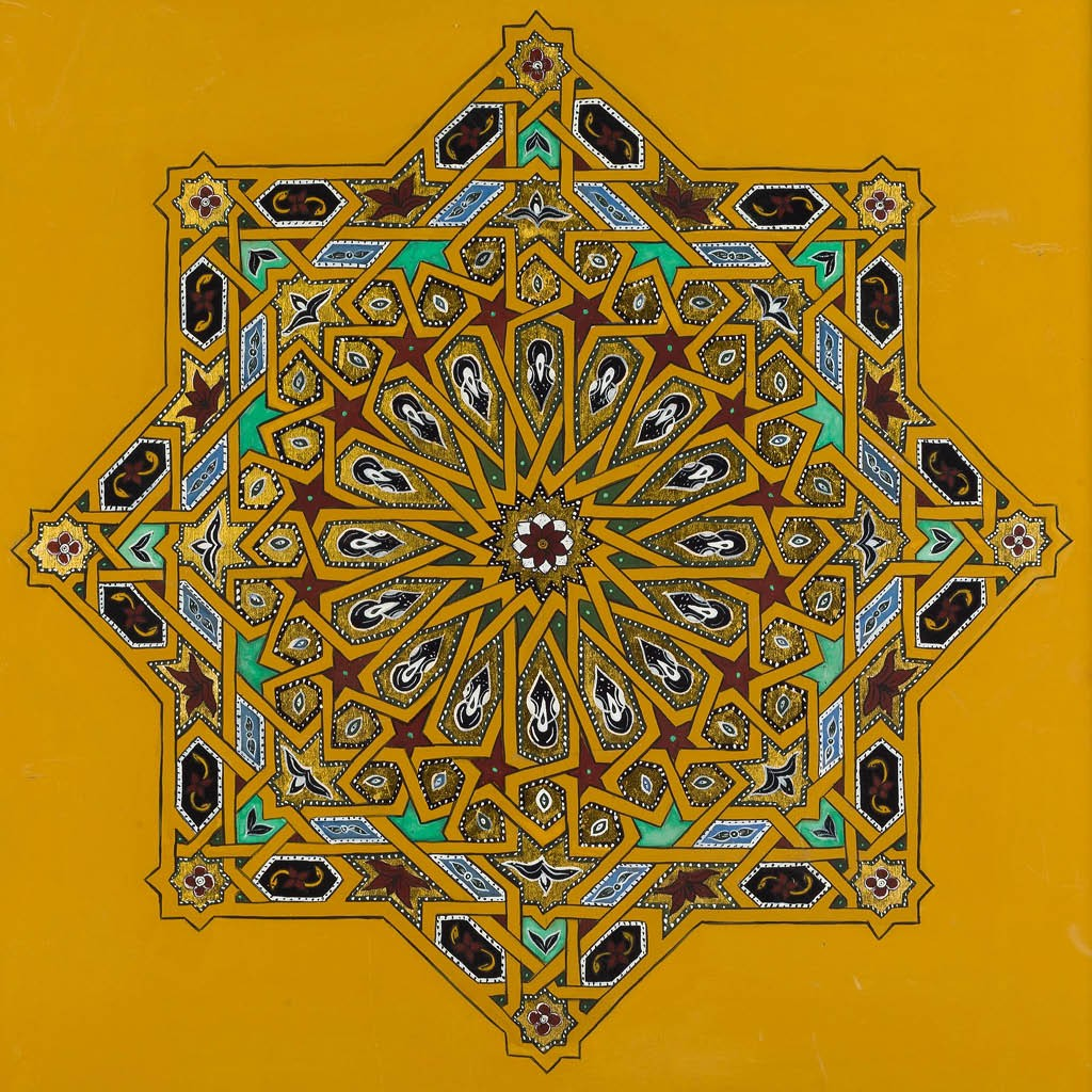 Image of a zouaq painting in the shape of a star with loads of details within it