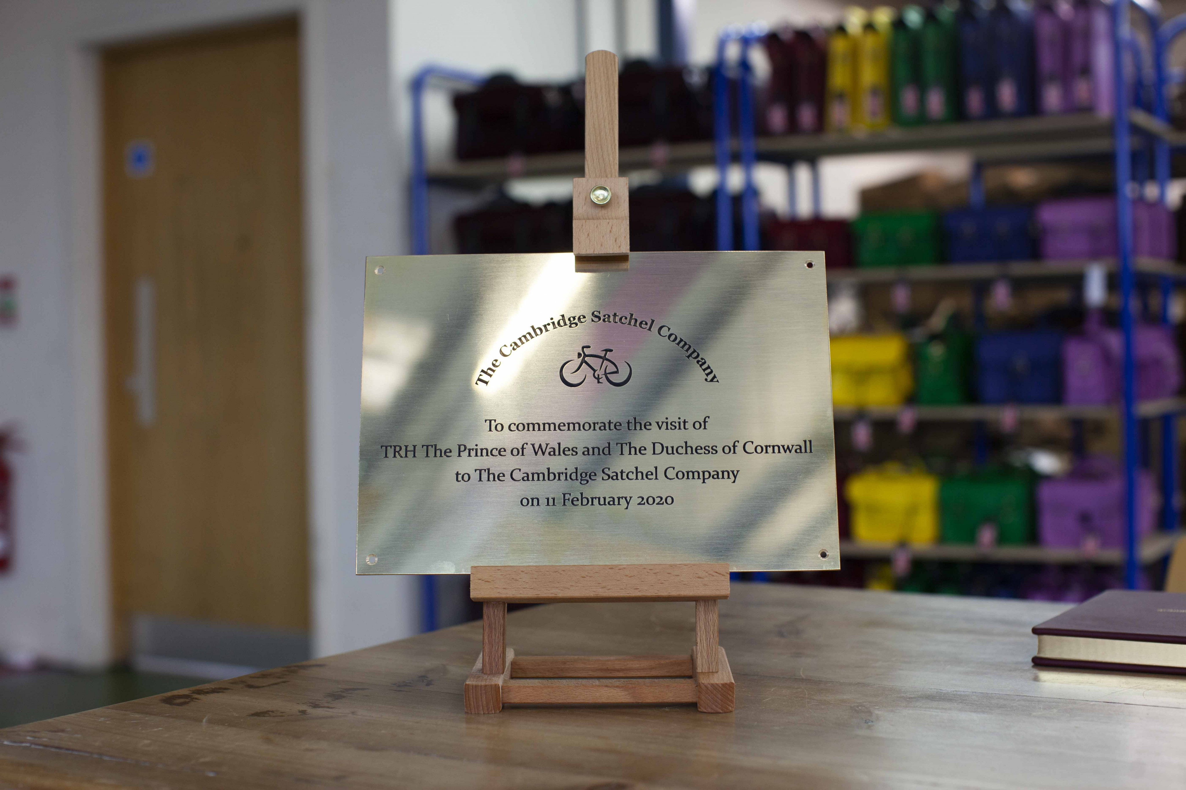 HRH plaque at The Cambridge Satchel Company