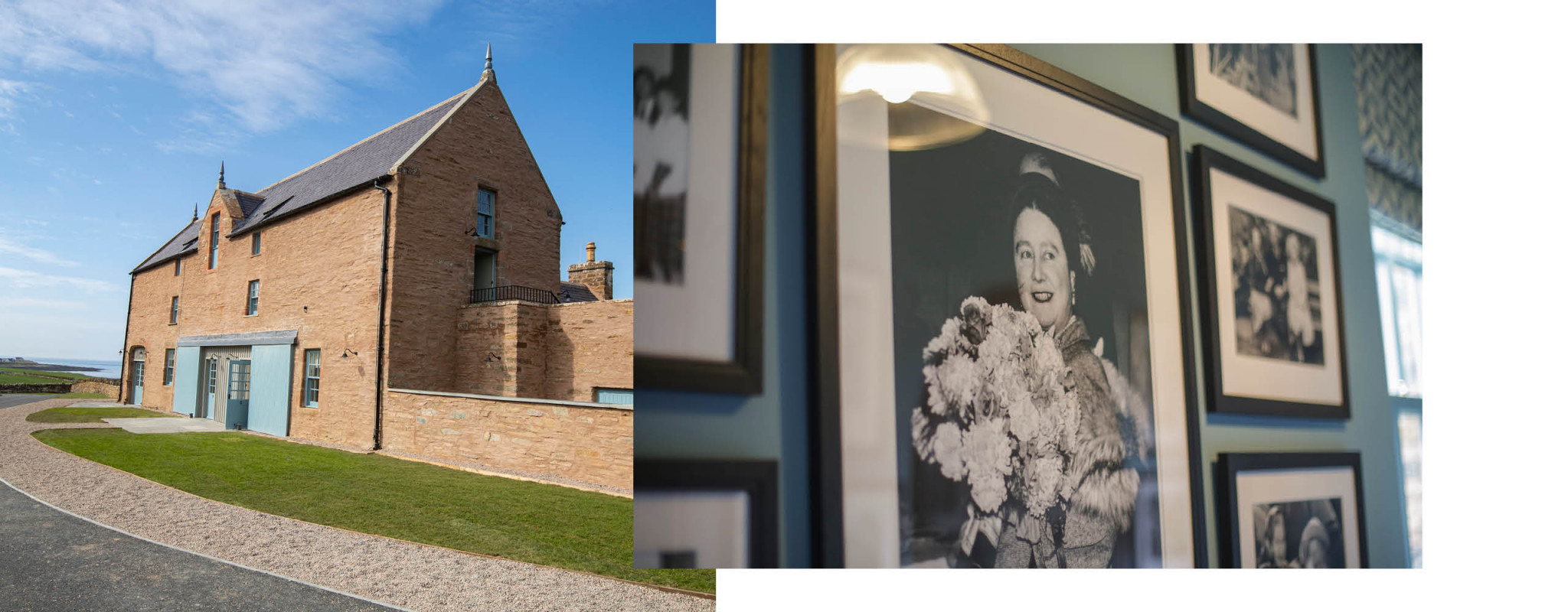 Two images, one of The Granary Exterior and one of Photographs of The Queen Mother
