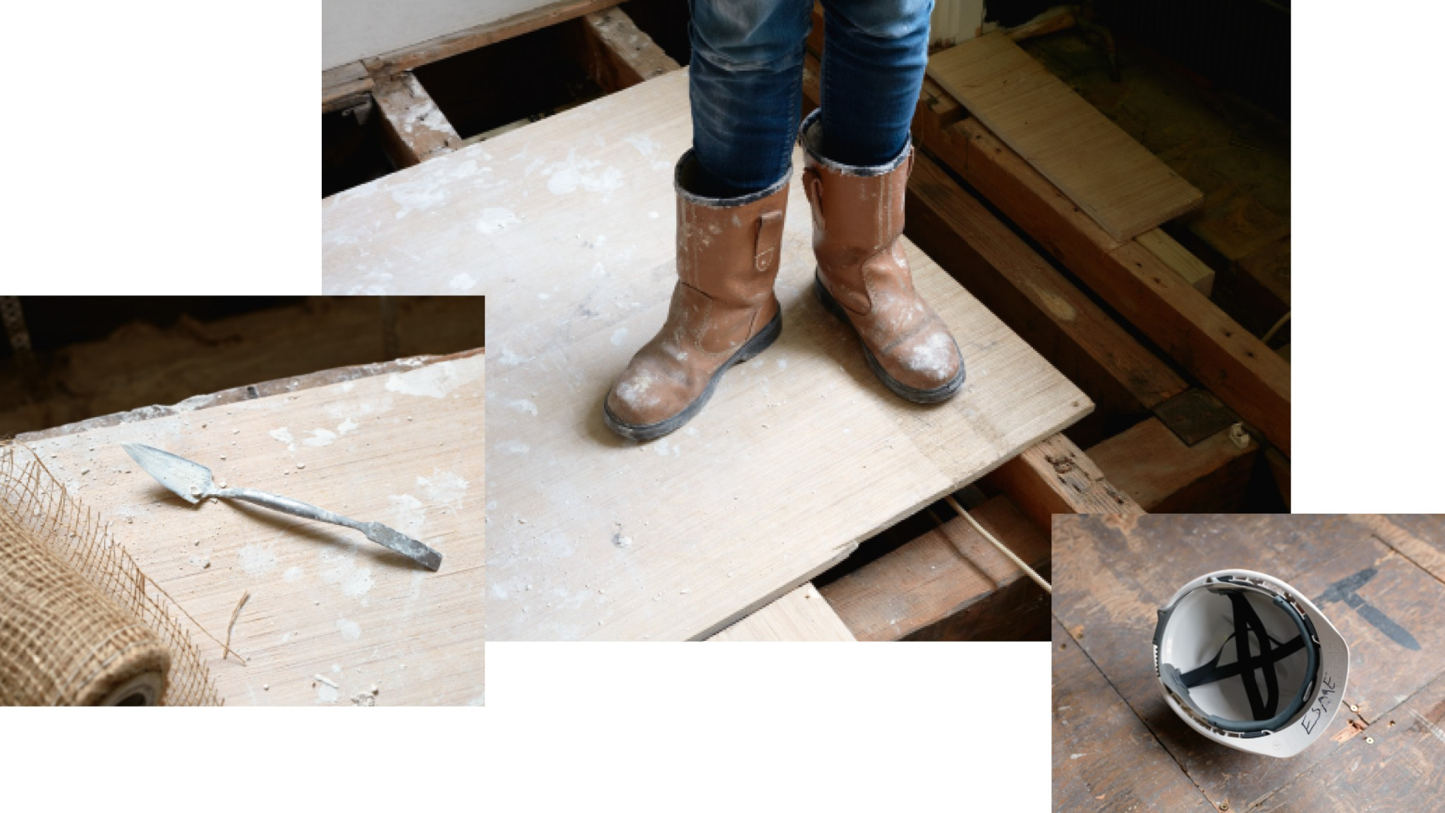 Three images of tools, closeup of boots and a hard hat