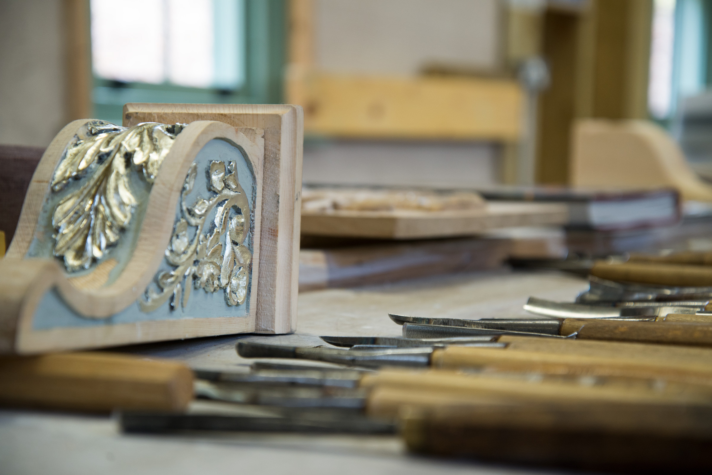 Close up image of carving tools